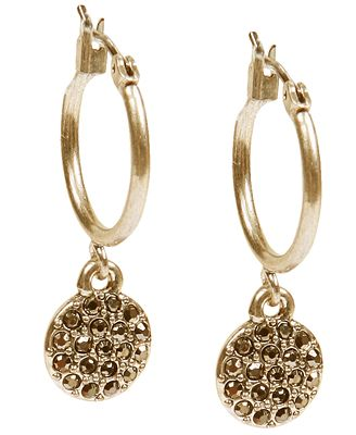 Lucky brand gold tone pave drop earrings jewelry for Macy s lucky brand jewelry