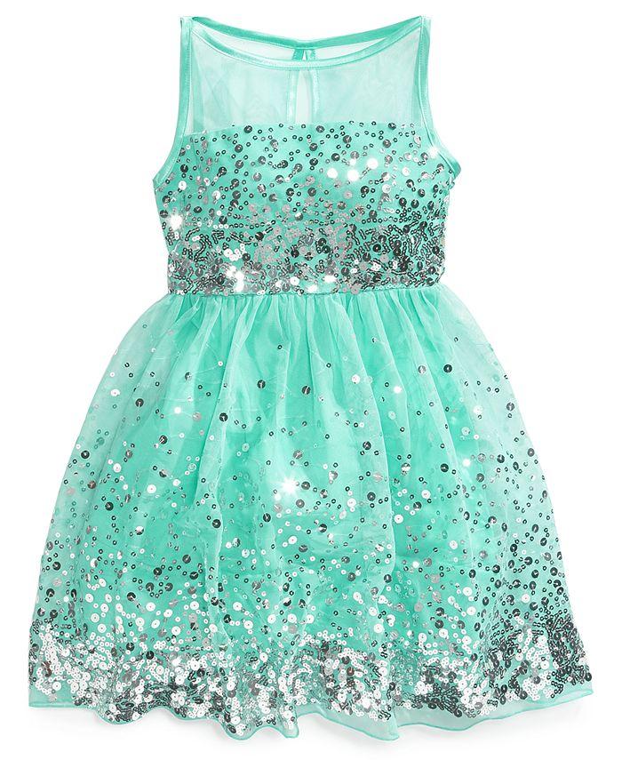 Crystal Doll - Girls' Sequin Illusion Dress