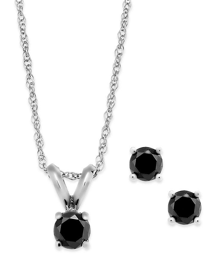 Macy's - Black Diamond Jewelry Set in 10k Gold (1/4 ct. t.w.)