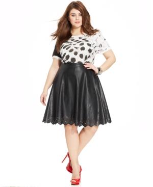 Modamix Plus Size Faux-Leather Laser-Cut Skirt