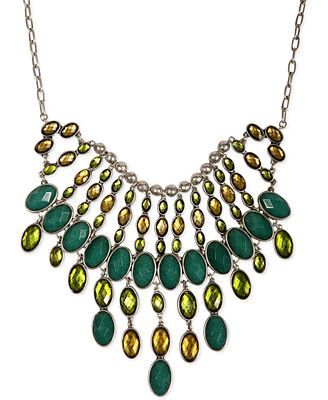Lucky brand silver tone multi green stone bib necklace for Macy s lucky brand jewelry