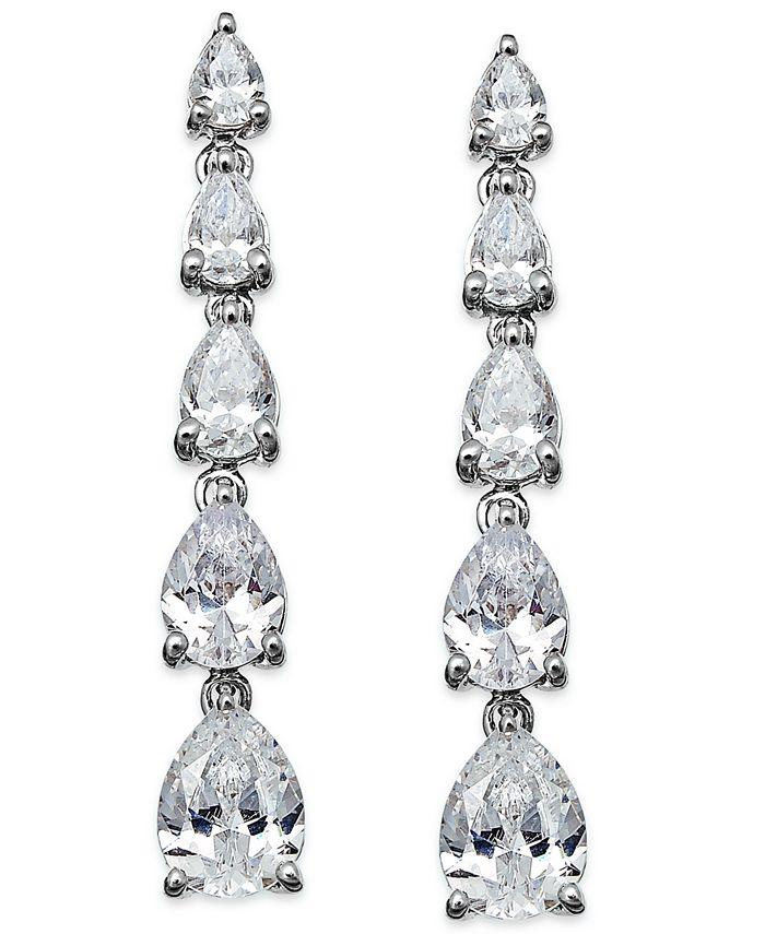 Arabella - Swarovski Zirconia Graduated Linear Earrings in Sterling Silver (8 ct. t.w.)