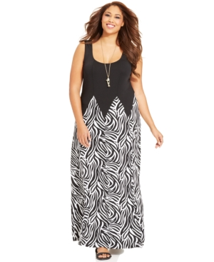 Love Squared Plus Size Sleeveless Zebra-Print Maxi Dress