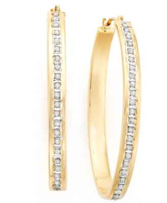 14k Gold Diamond Accent Oval Hoops