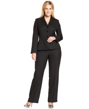 Le Suit Plus Size Ruched-Collar Pantsuit