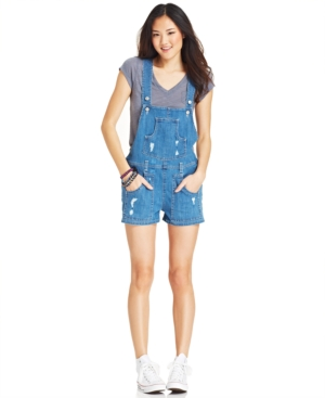 Levi's Juniors' Destroyed Shorts Overalls $ 49.99