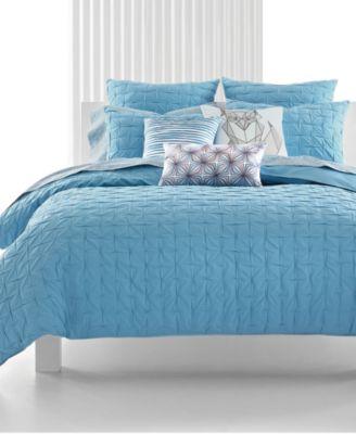 """CLOSEOUT! Bar III Box Pleat Sea Spray Foxy 18"""" Square Decorative Pillow"""