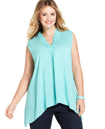 Spense plus size sleeveless handkerchief hem blouse tops for Handkerchief shirt plus size