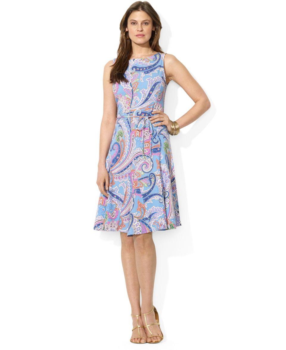 Lauren Ralph Lauren Petite Striped Belted Dress   Dresses   Women