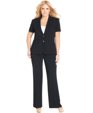 Tahari by ASL Plus Size Short-Sleeve Two-Button Pantsuit
