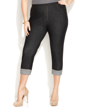 INC International Concepts Plus Size Cropped Cuffed Skinny-Leg Jeggings, Deep Black Wash