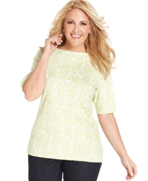 Charter Club Plus Size Elbow-Sleeve Damask-Print Pima-Cotton Top
