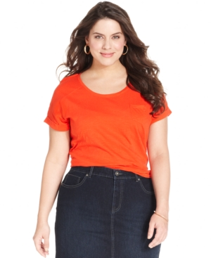 Style & co. Plus Size Short-Sleeve Cuffed Tee