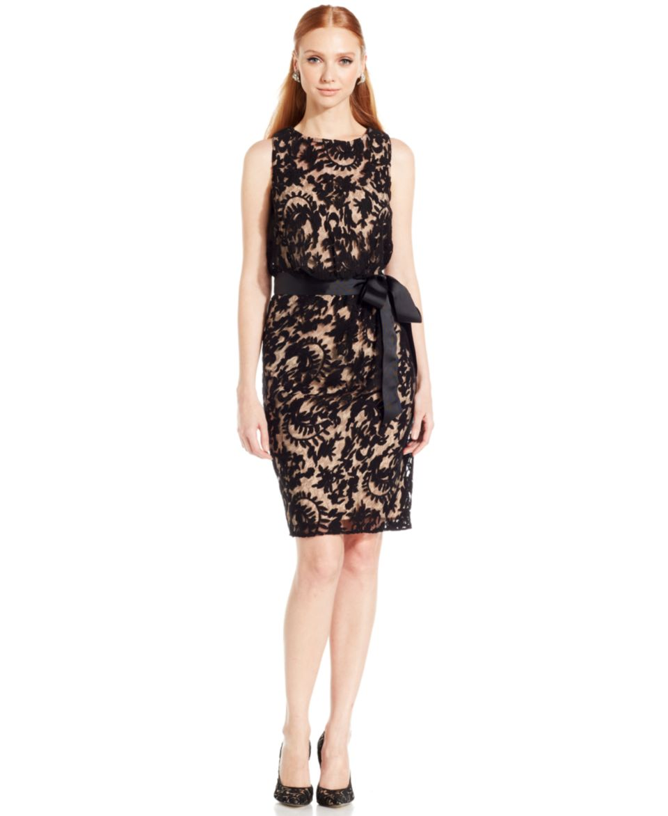 Adrianna Papell Sleeveless Contrast Lace Sheath   Dresses   Women