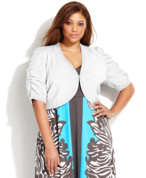 INC International Concepts Plus Size Short-Sleeve Ruched Shrug