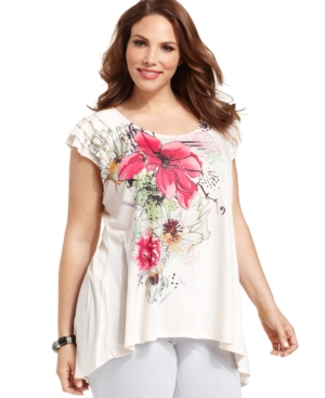 Style & co. Plus Size Short-Sleeve Floral-Print Top
