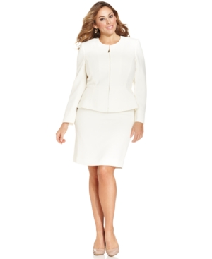 Tahari by ASL Plus Size Zip-Front Jacket Skirt Suit