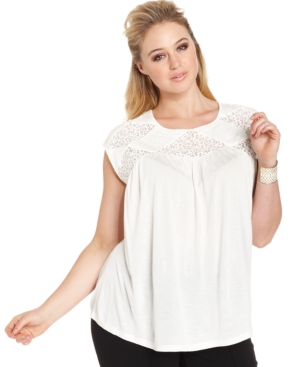 Vince Camuto Plus Size Sleeveless Lace-Trim Blouse