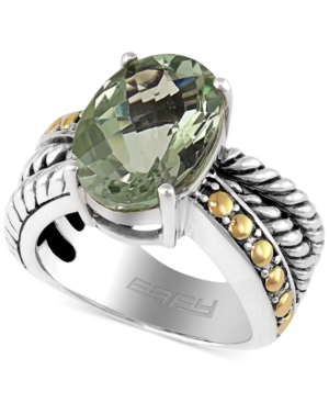 Balissima by Effy Green Amethyst Oval Ring in Sterling Silver and 18k Gold (5-3/4 ct. t.w.)