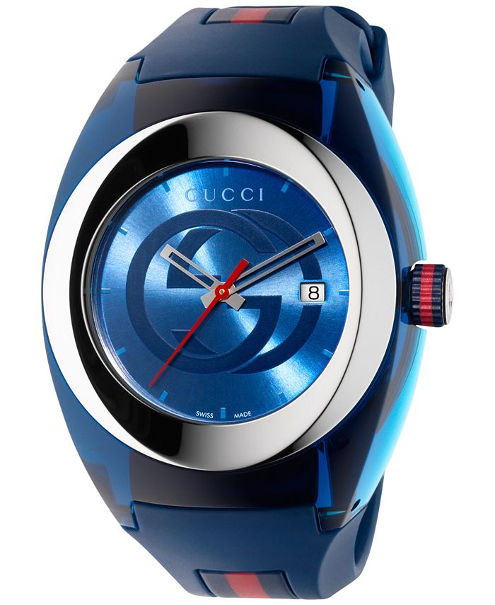 Gucci - Unisex Swiss Blue and Red Rubber Strap Watch 46mm YA137104