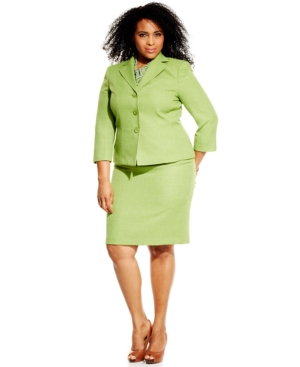 Le Suit Plus Size Textured Skirt Suit with Scarf