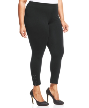 Style & co. Plus Size Studded Zipper Leggings