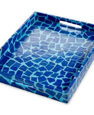 Heart of Haiti Large Papier Mache Blue Squares Tray