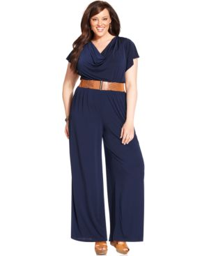 Agb Plus Size Flutter-Sleeve Wide-Leg Belted Jumpsuit