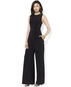 Lauren Ralph Lauren Plus Size Sleeveless Wide-Leg Jumpsuit