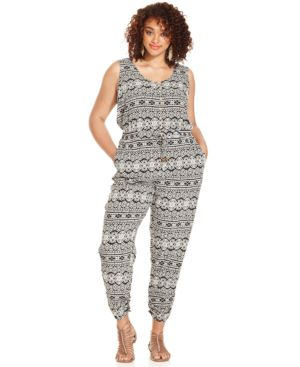 American Rag Plus Size Sleeveless Printed Jumpsuit