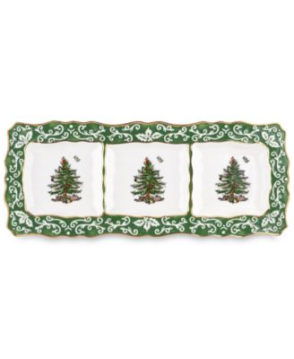 Spode Christmas Tree Embossed 3 Section Dish