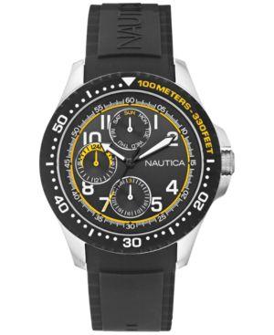 Nautica Men's Black Silicone Strap Watch 44mm N13682G