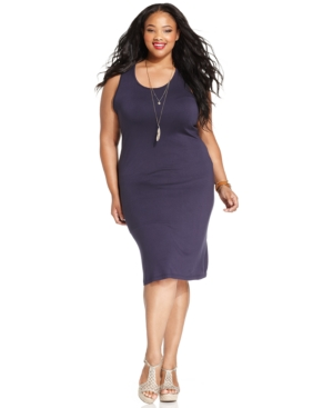 Ing Plus Size Sleeveless Crochet-Back Midi Dress