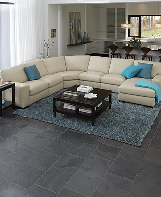 Fabrizio Leather Sectional Sofa Living Room Furniture Collection Furniture