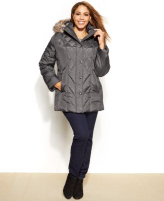 London Fog Plus Size Faux-Fur-Trim Down Puffer Jacket