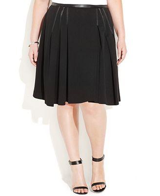 calvin klein plus size faux leather trim skater skirt
