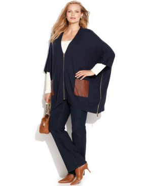 Michael Michael Kors Plus Size Faux-Leather-Trim Poncho Sweater