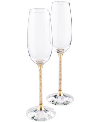 Swarovski Stemware, Set of 2 Crystalline Golden Shadow Toasting Flutes