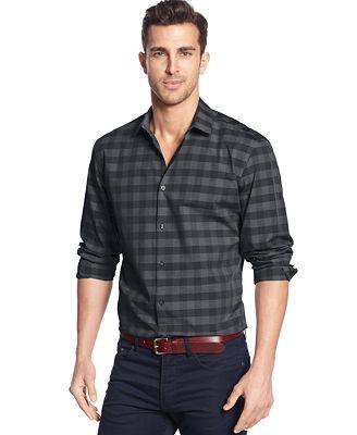 Alfani Black Clay Check Shirt Casual Button Down Shirts