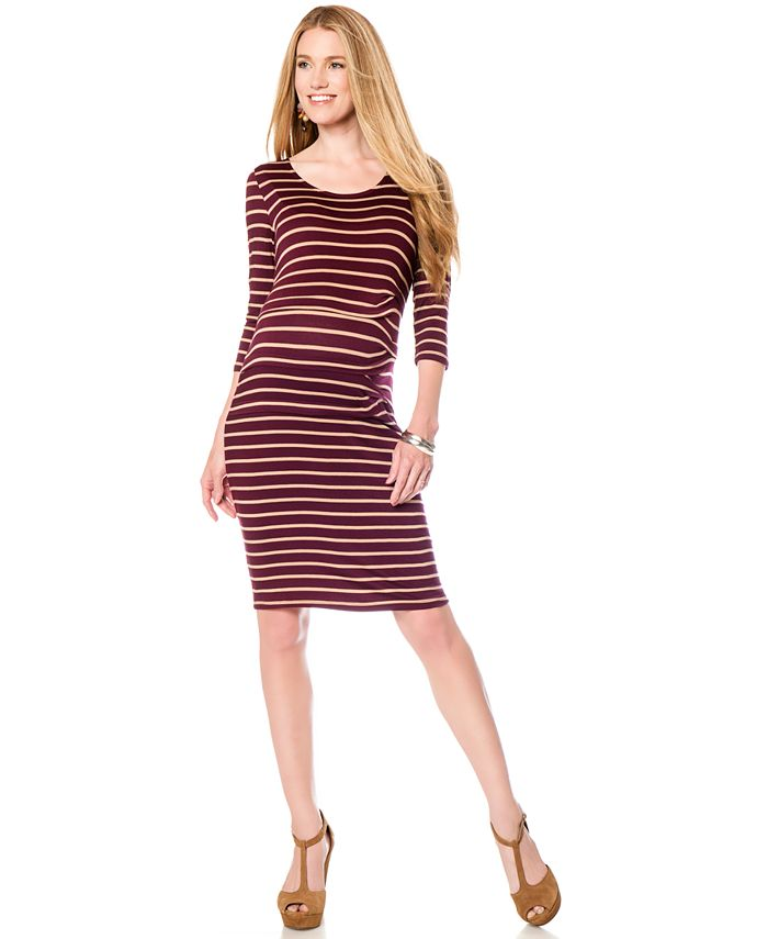 Jessica Simpson - Striped Bodycon Maternity Dress
