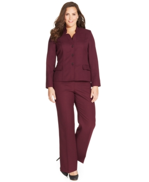 Le Suit Plus Size Ruffle-Collar Crosshatch Pantsuit
