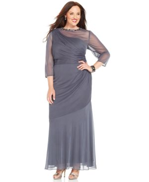 Alex Evenings Plus Size Illusion-Sleeve One-Shoulder Gown