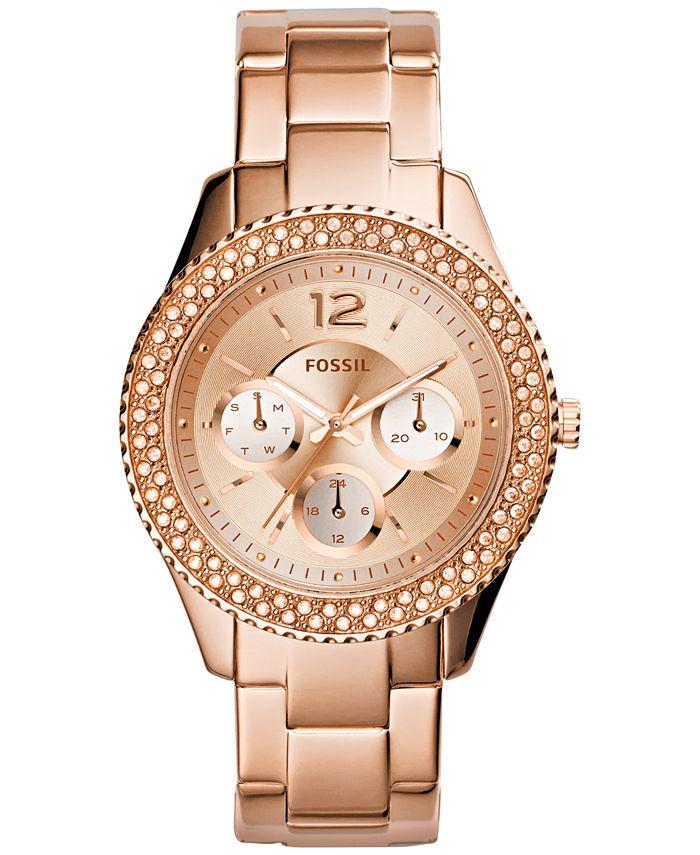 Fossil - Women's Stella Rose Gold-Tone Stainless Steel Bracelet Watch 38mm ES3590