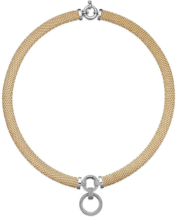 Macy's - Diamond Circle Pendant Mesh Necklace (3/4 ct. t.w.) in 14k Vermeil & Sterling Silver
