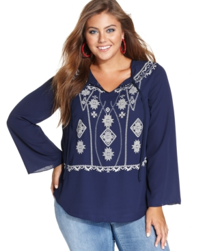 Ing Plus Size Long-Sleeve Embroidered Peasant Top