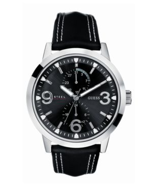GUESS Men's Black Leather Strap Watch