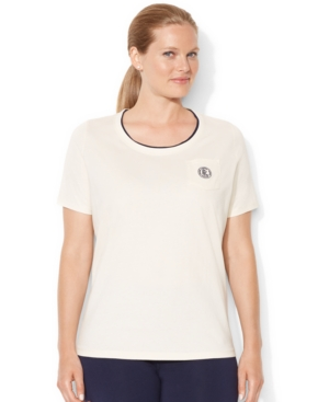 Lauren Ralph Lauren Plus Size Short-Sleeve Emblem Pocket Tee