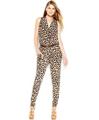 MICHAEL Michael Kors Cheetah-Print Belted Jumpsuit