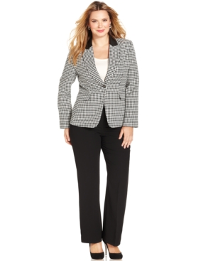 Tahari ASL Plus Size Houndstooth Faux-Leather-Trim Pantsuit