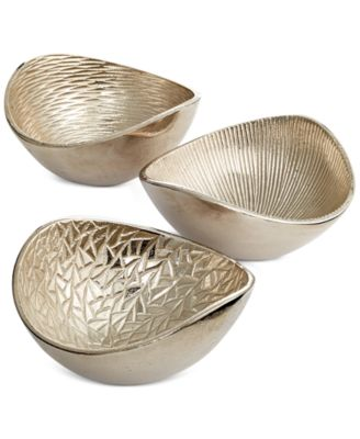 Simply Designz Serveware, Set of 3 Metallic Organic Nut Bowls